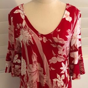 Witchery Size Small Red & White Top Flared Sleeves